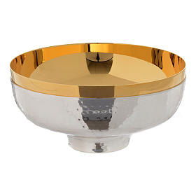 Metal Chalices Patens Ciboria: Bowl paten hand hammered in gold and silver plated brass