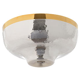 Bowl paten hand hammered in gold and silver plated brass s2