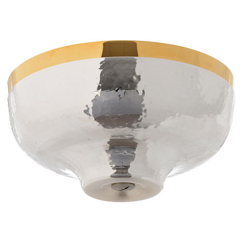Bowl paten hand hammered in gold and silver plated brass 2