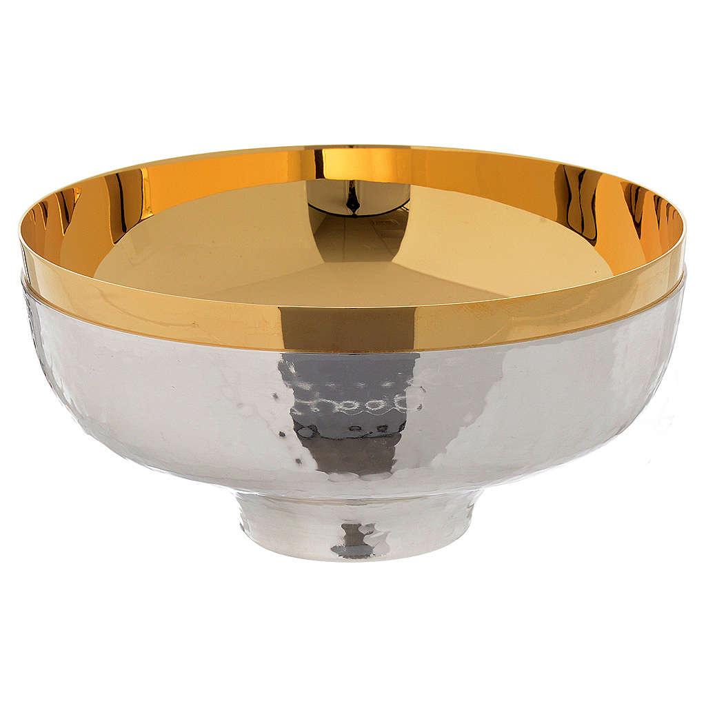 Patena offertoriale ottone cesellata a mano argentata dorata 4