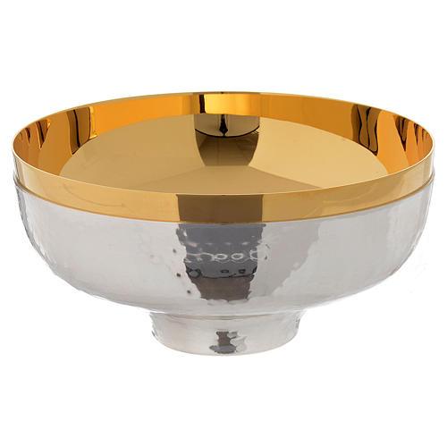 Patena offertoriale ottone cesellata a mano argentata dorata 1