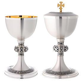 Calice e pisside ottone argentato cesellato croce celtica s1
