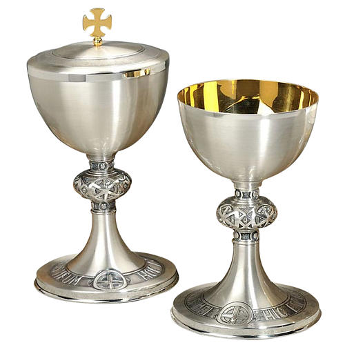 Calice e pisside ottone argentato cesellato croce celtica 1