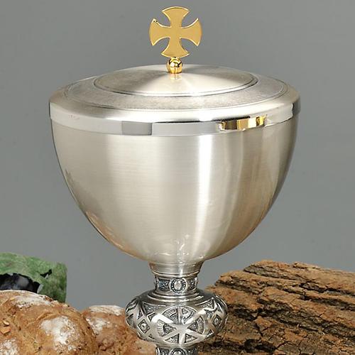 Calice e pisside ottone argentato cesellato croce celtica 2
