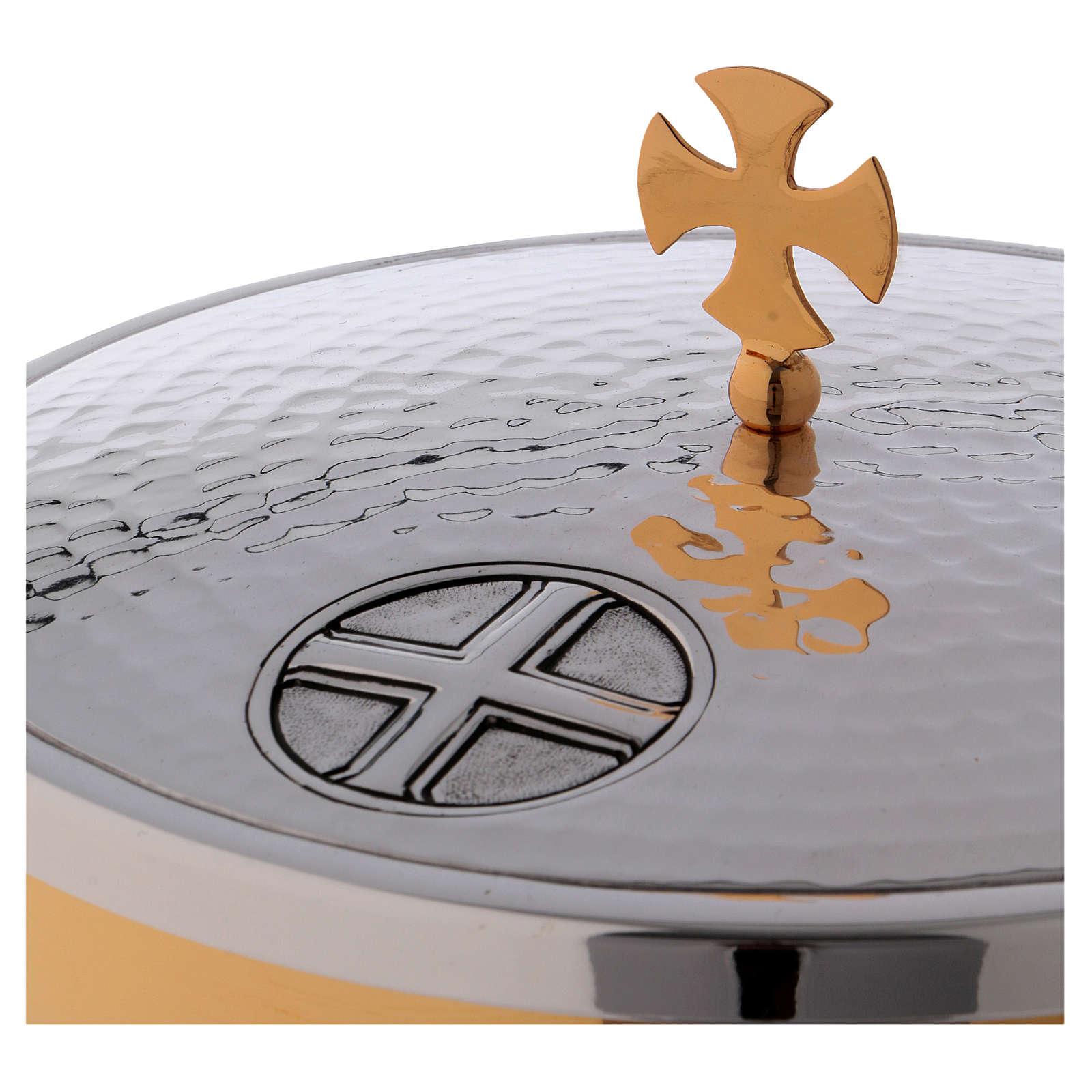 Patena offertoriale ottone croce celtica foglie acanto 4