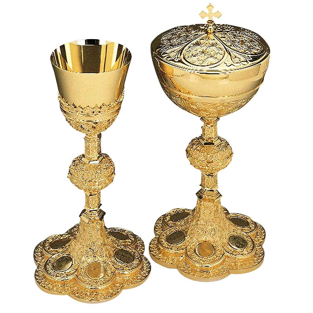 Calice e pisside ottone dorato argento 925/00 decoro medaglioni 4