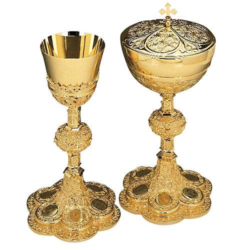 Calice e pisside ottone dorato argento 925/00 decoro medaglioni 1
