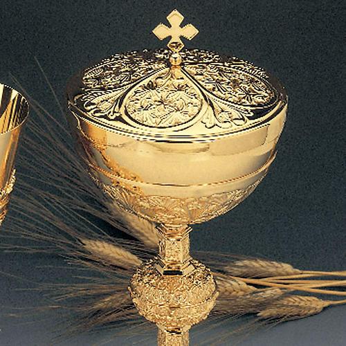 Calice e pisside ottone dorato argento 925/00 decoro medaglioni 2