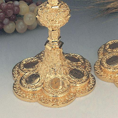Calice e pisside ottone dorato argento 925/00 decoro medaglioni 3