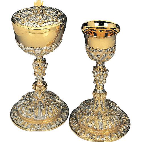 Calice pisside ottone argento 925/00 angeli simboli eucaristici 1