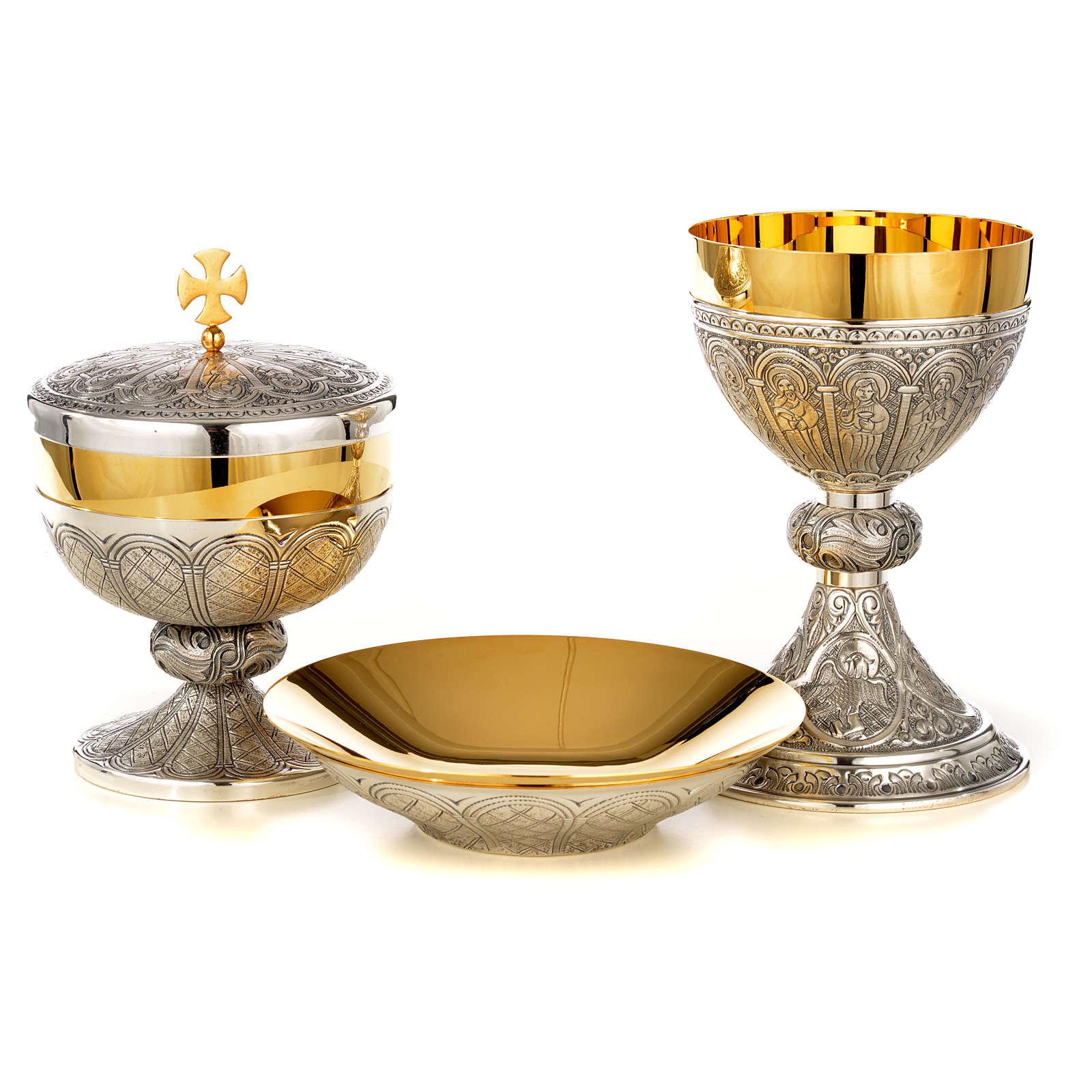 Cáliz copón patena  latón plata 12 apostoles 4