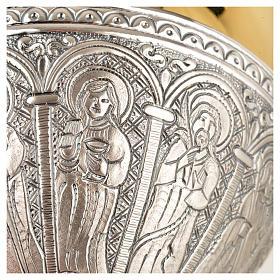 Cáliz copón patena  latón plata 12 apostoles s9