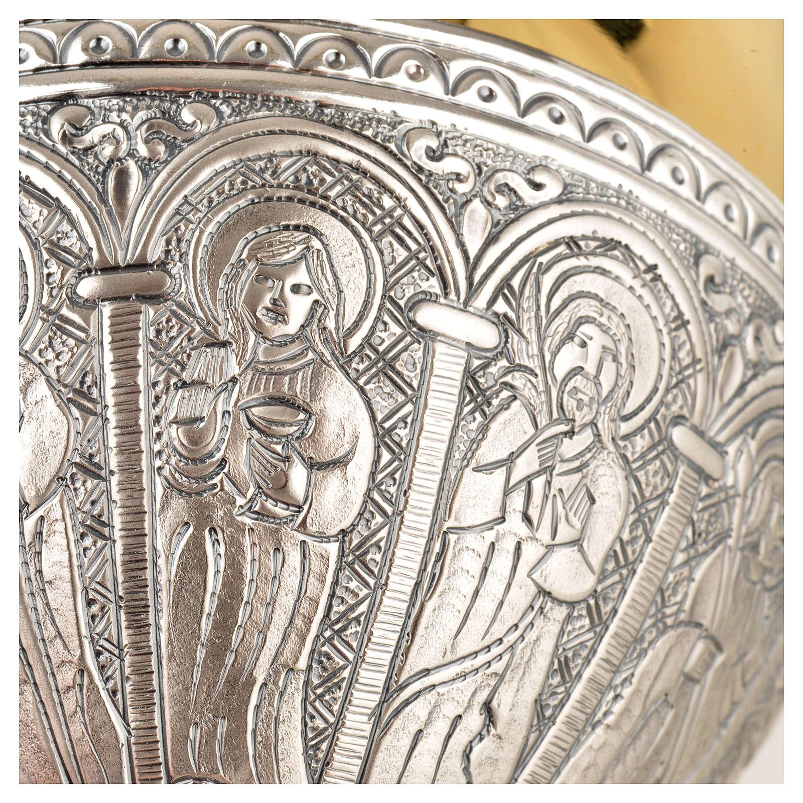 Calice, ciboire laiton argent 12 apôtres 4