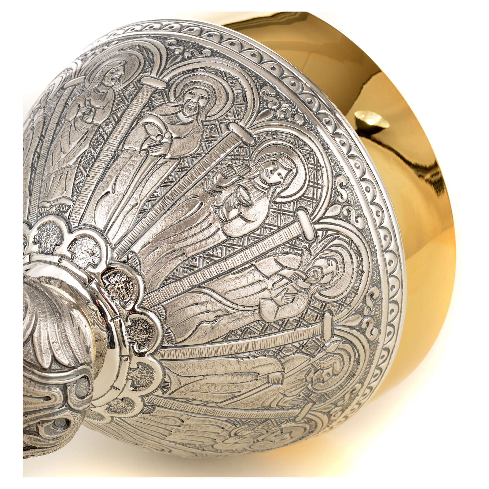 Calice pisside patena ottone argento 12 apostoli 4