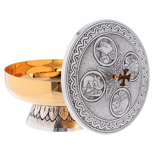 Calice pisside patena ottone argento croce celtica decori 10