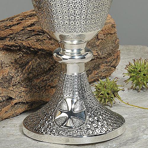 Calice e pisside ottone cesellato decorazioni croce celtica 3