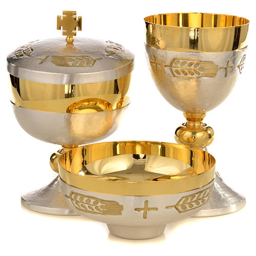 Chalice, ciborium and paten with ears of wheat and cross 1