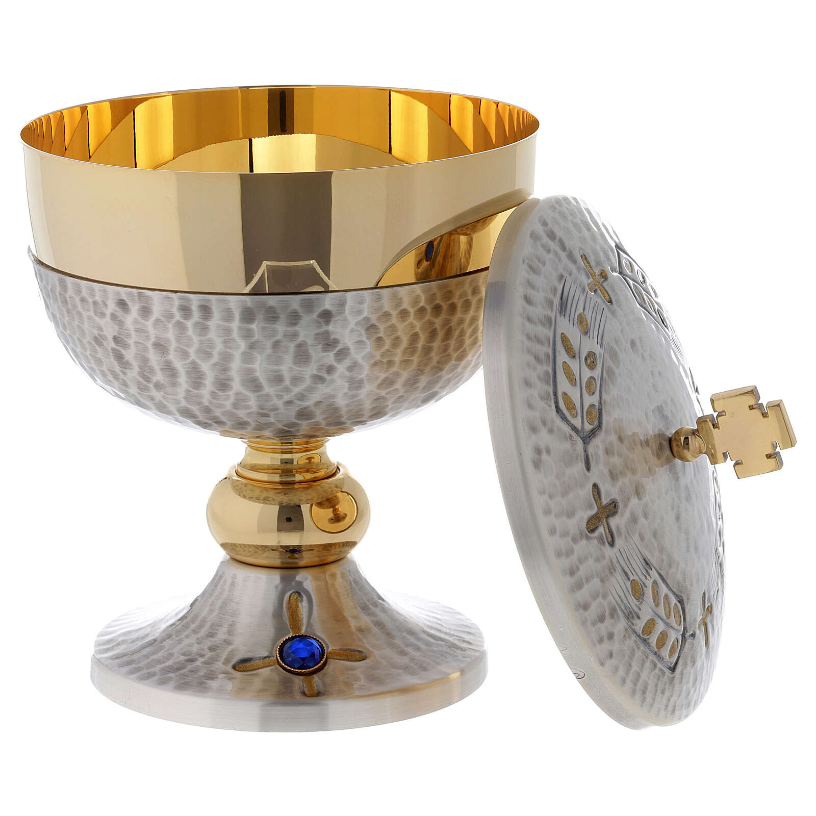 Chalice, ciborium and paten with ears of wheat and cross 4
