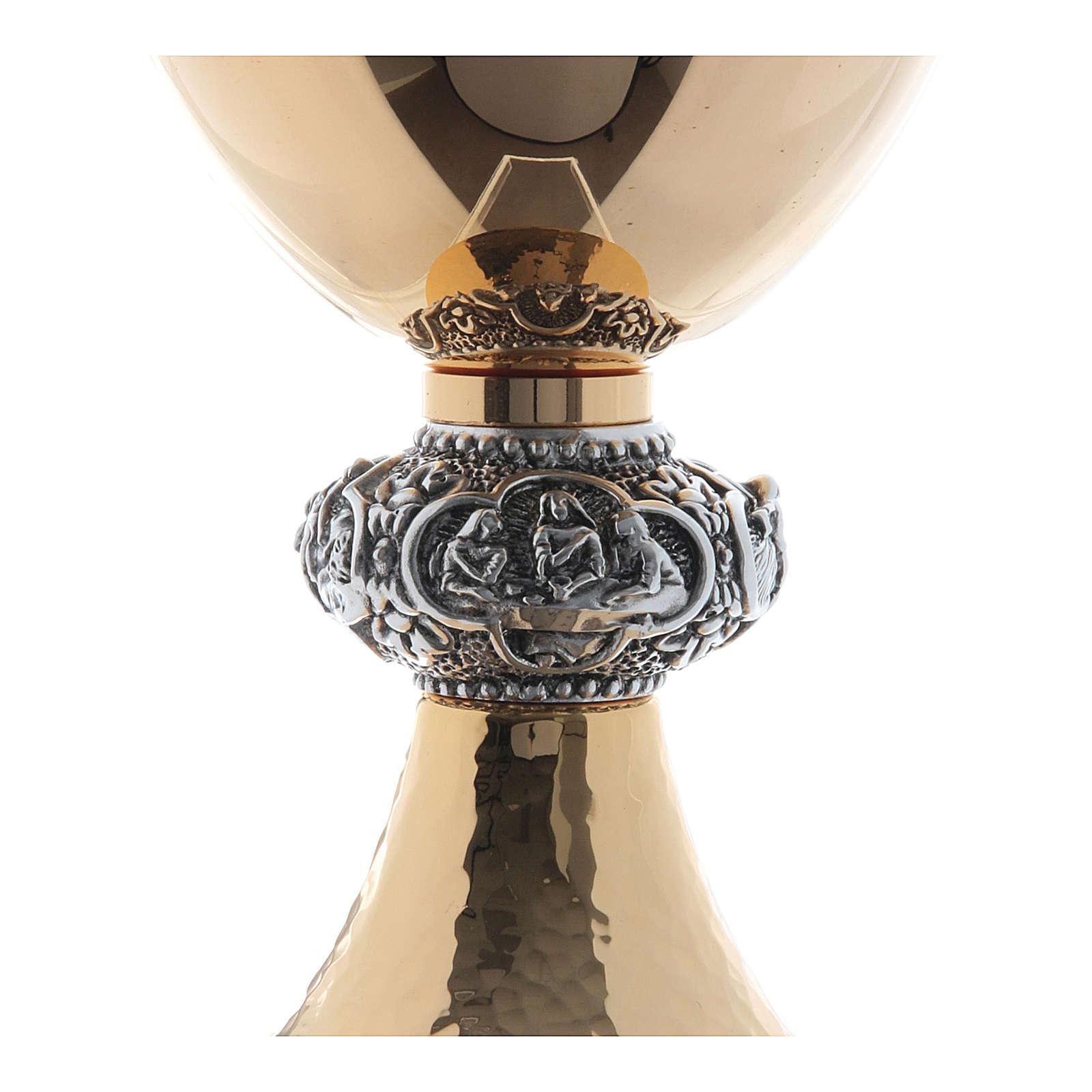 Calice e pisside ottone argento tazza liscia lucida 4
