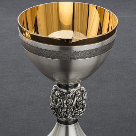 Cálice e patena litúrgica latão prata Milagres s12