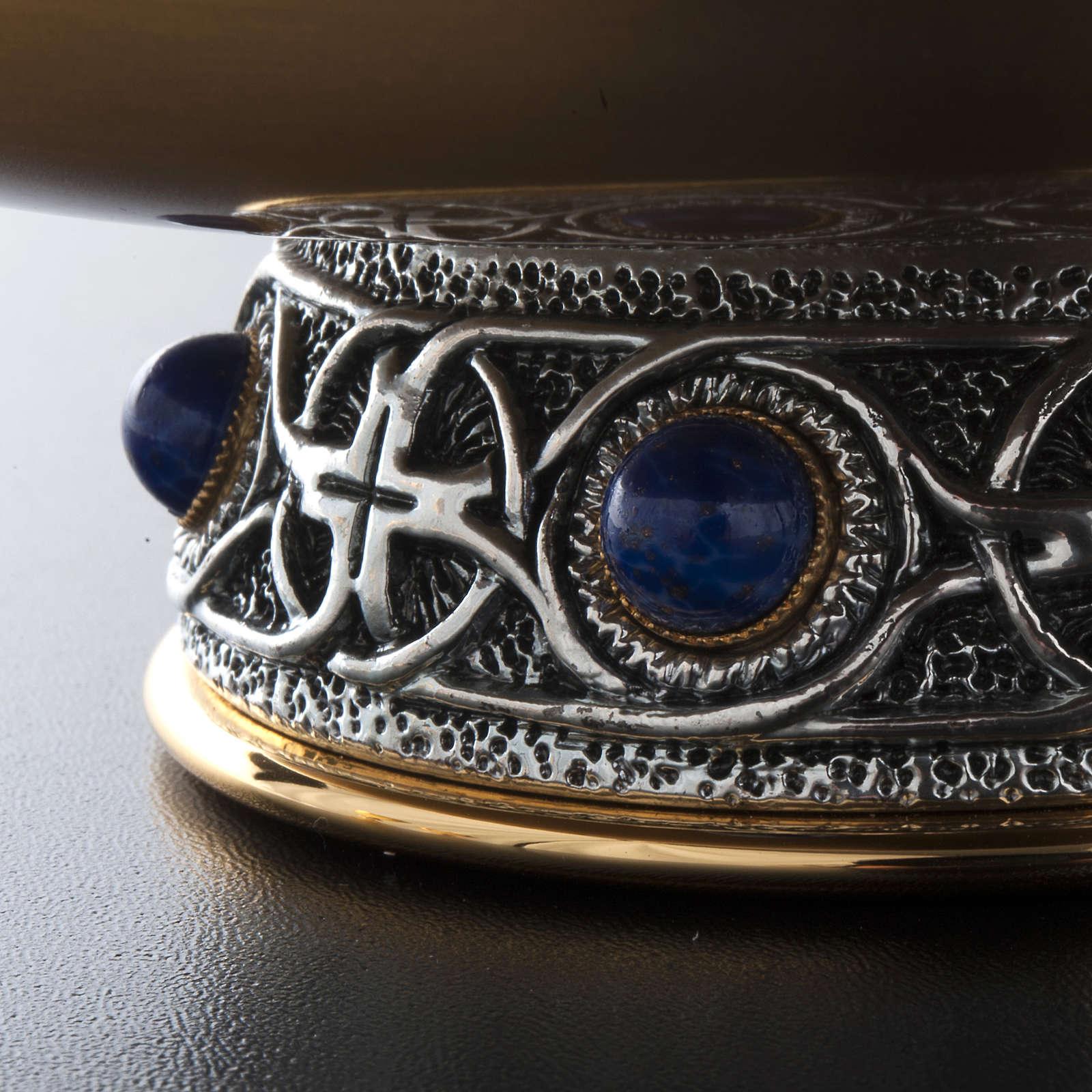Calice pisside patena ottone argento croce celtica e pietra 4