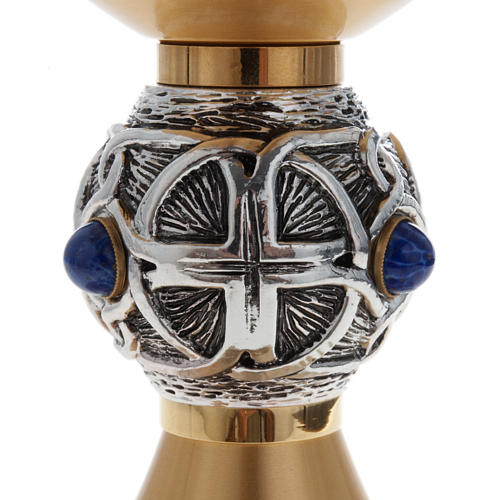 Calice pisside patena ottone argento croce celtica e pietra 5