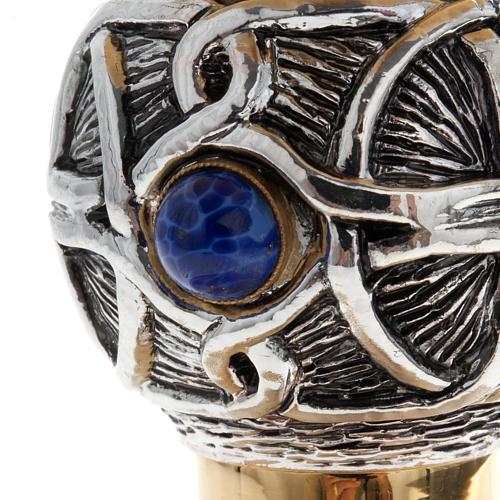 Calice pisside patena ottone argento croce celtica e pietra 6