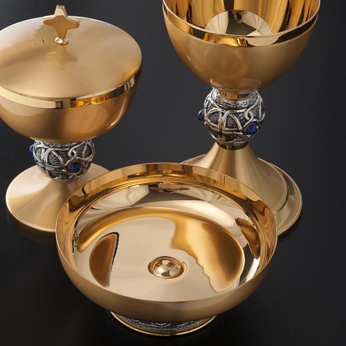 Calice pisside patena ottone argento croce celtica e pietra 8