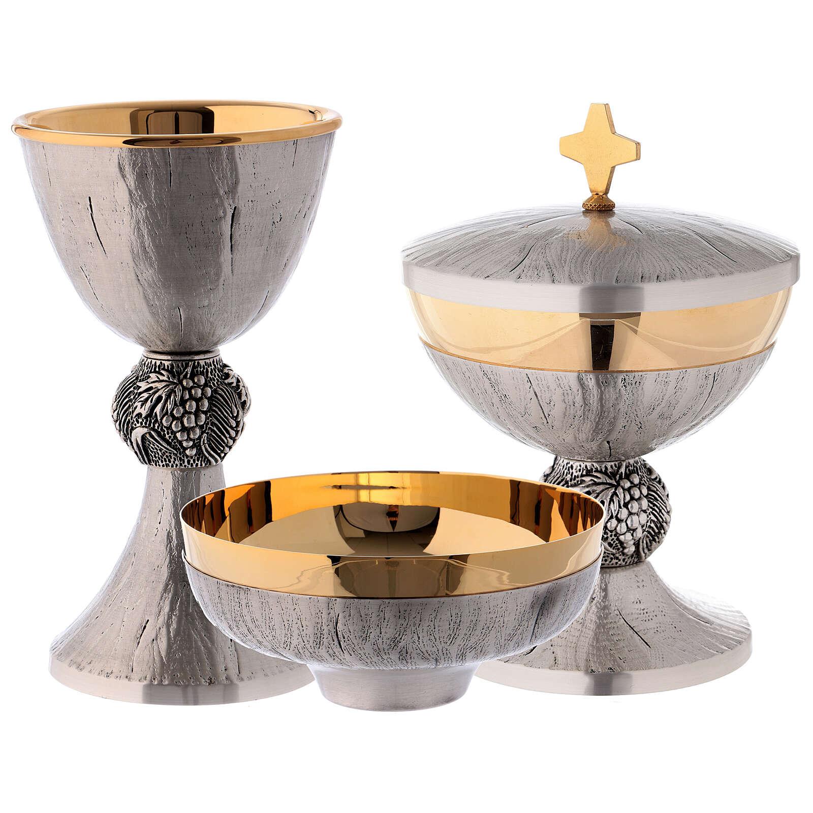 Calice pisside patena ottone argento uva spighe 4