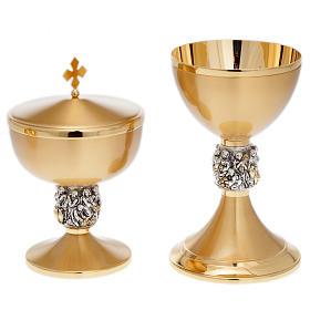 Calice pisside patena ottone dorato nodo argento Miracoli s2