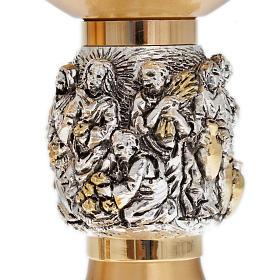 Calice pisside patena ottone dorato nodo argento Miracoli s4