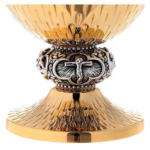 Calice ciboire patène laiton argenté scènes Vie Jésus 11
