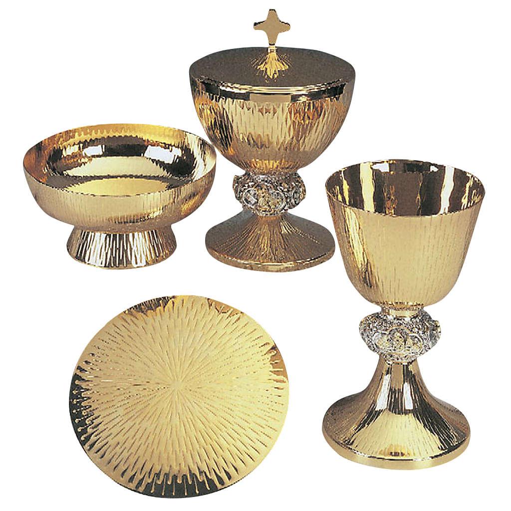 Calice pisside patena ottone argento scene vita Gesù 4