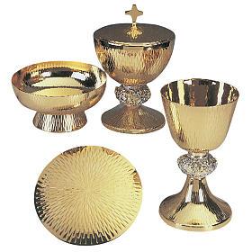 Calice pisside patena ottone argento scene vita Gesù s1