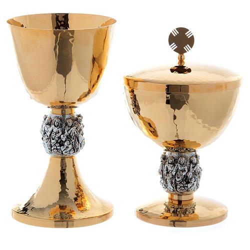 Calice e pisside ottone martellato argento Miracoli 1