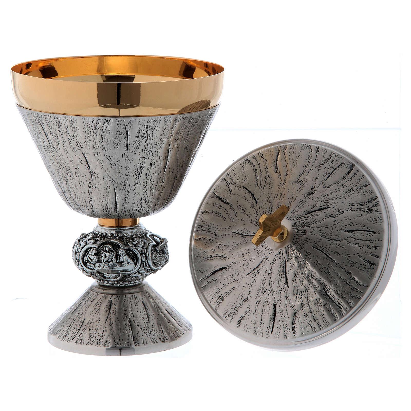 Calice pisside e patena ottone cesellato argento scene sacre 4