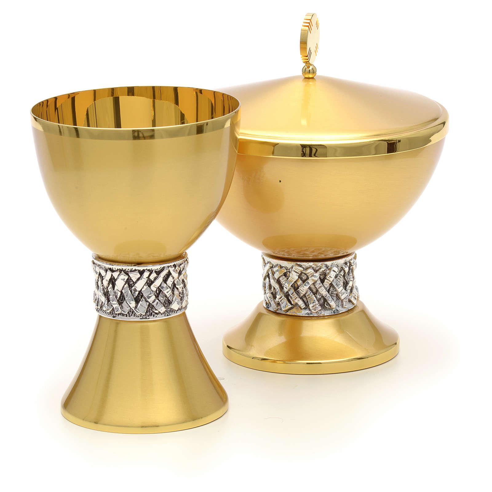 Calice e pisside ottone satinato lamina argento 4