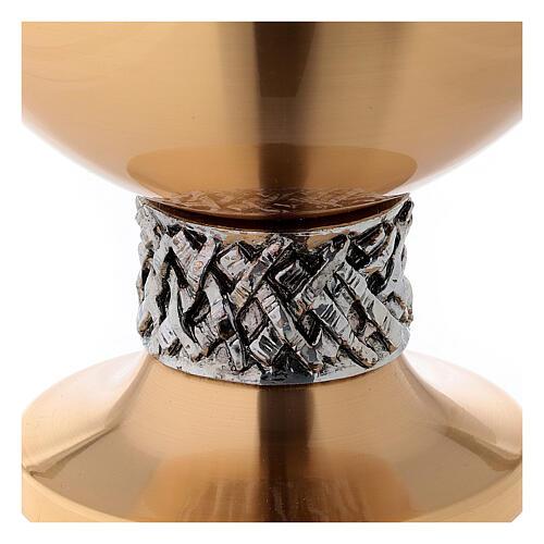 Calice e pisside ottone satinato lamina argento 3