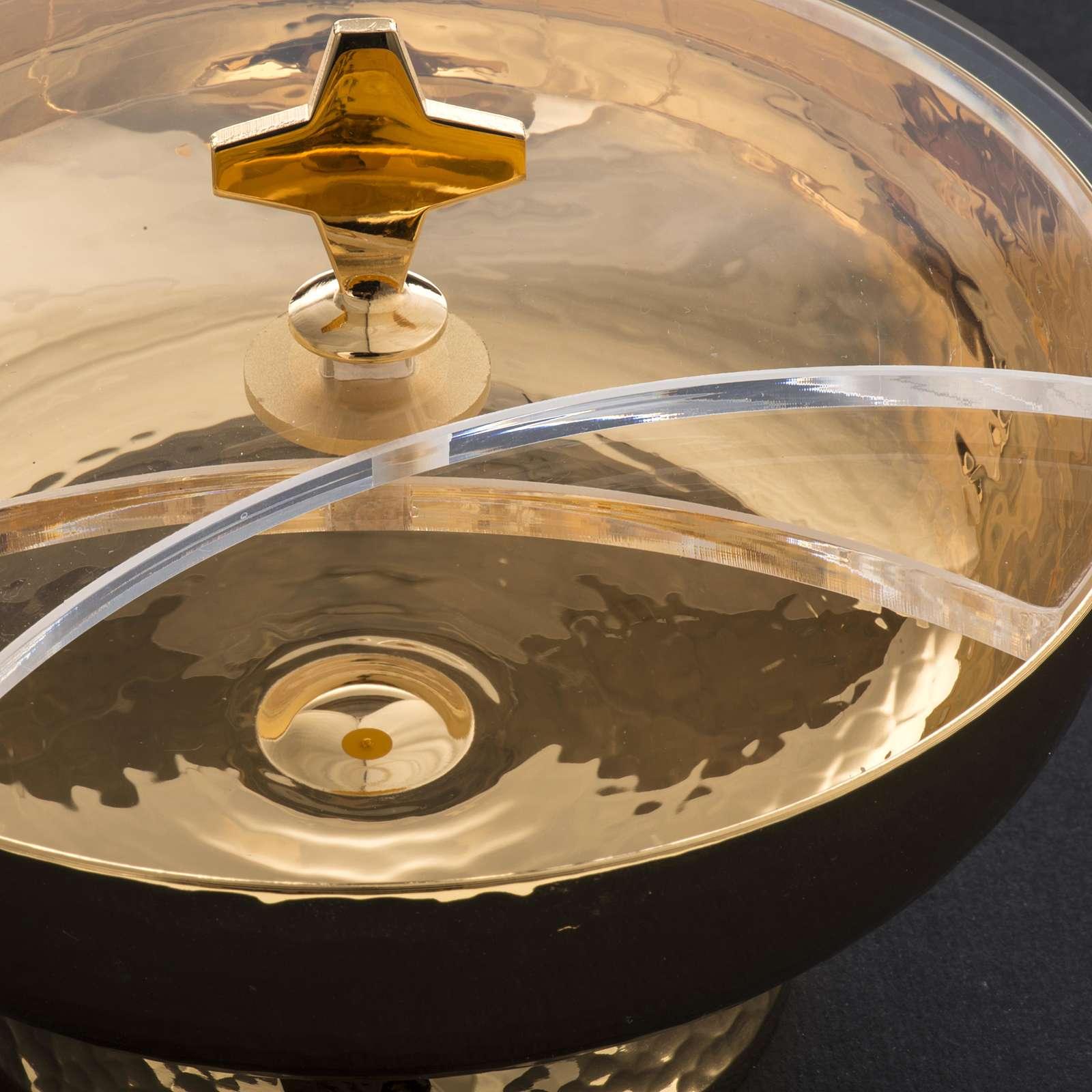 Ziborium aus vergoldetem Messing mit drehbaren Plexiglas-Deckel 4