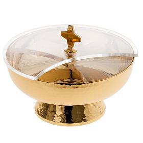 Ziborium aus vergoldetem Messing mit drehbaren Plexiglas-Deckel s1