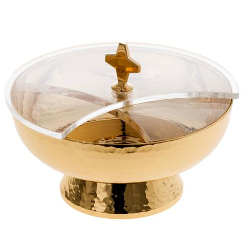 Ziborium aus vergoldetem Messing mit drehbaren Plexiglas-Deckel 1
