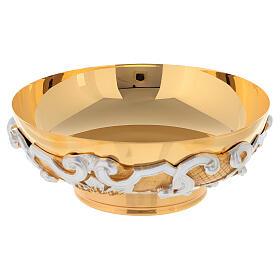 Patena in ottone dorato decori argentati s3