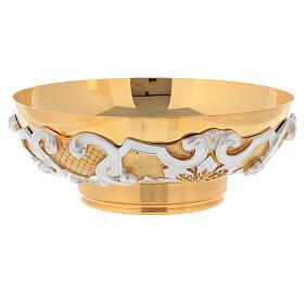 Patena in ottone dorato decori argentati s4