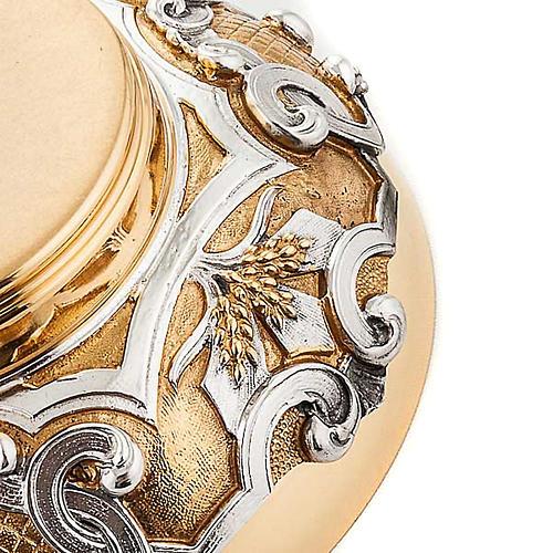 Patena in ottone dorato decori argentati 4