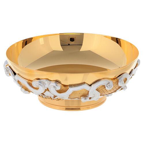 Patena in ottone dorato decori argentati 3