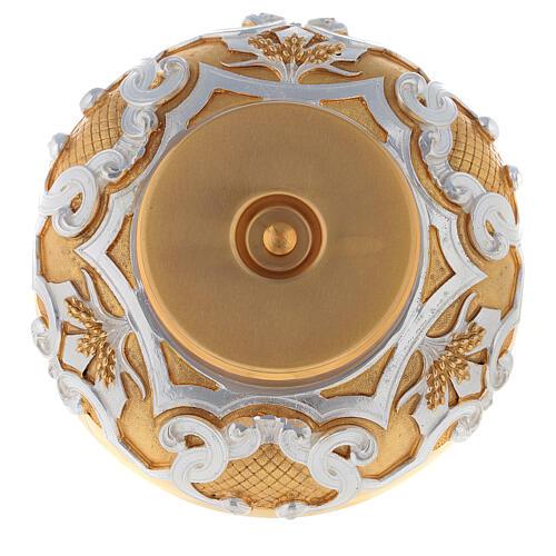 Patena in ottone dorato decori argentati 5