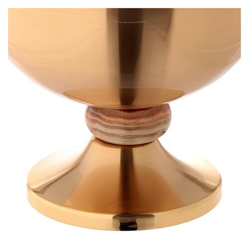 Ziborium aus mattem vergoldetem Messing mit Kreuz Nodus aus Onyx