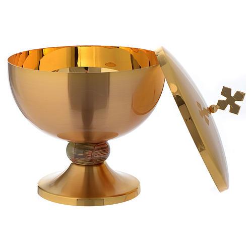 Ciboire laiton doré opaque croix noeud en onyx 3