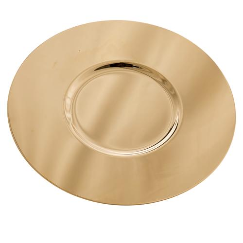 Patène laiton doré lucide fond modelé 15cm 2