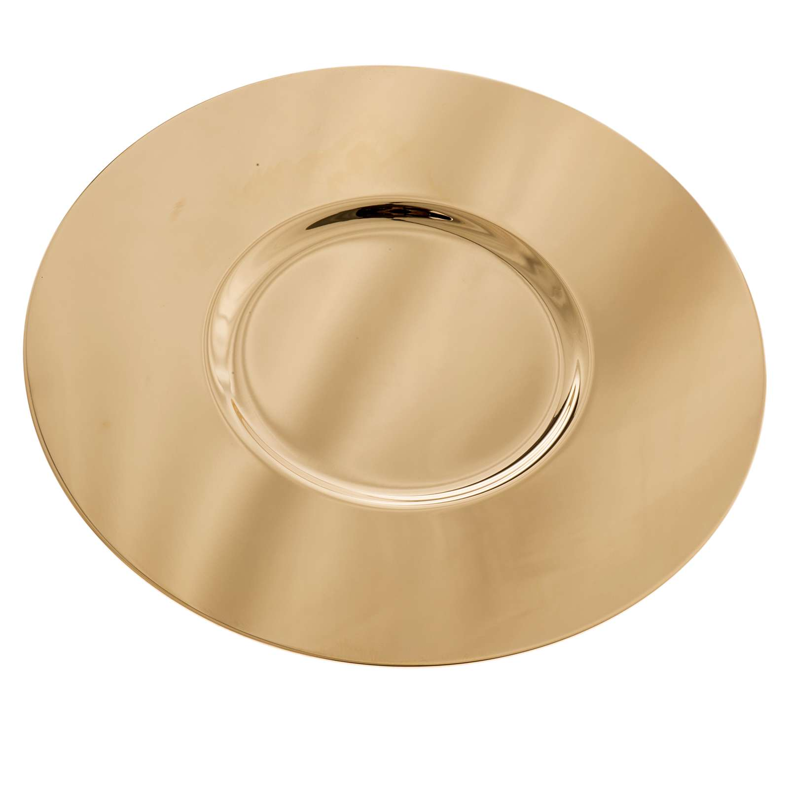 Paten in golden brass with shaped bottom, 15 cm 4